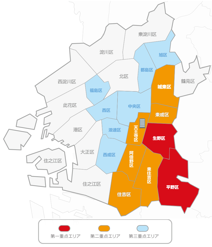 地図大阪平野生野